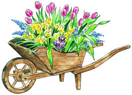 Flower Garden cart drawing free image